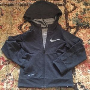 "NIKE Lightweight Gray Hooded ""Dry"" Jacket size 4"